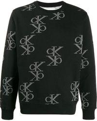 Calvin Klein Sweatshirt mit Monogrammmuster - Schwarz