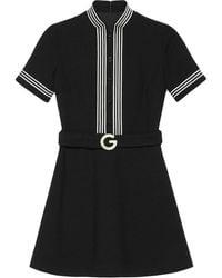 Gucci ストライプトリム ドレス - ブラック