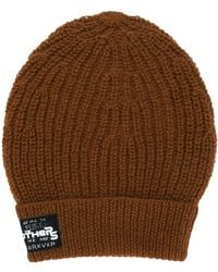 Raf Simons Patch-detail Ribbed Beanie - Brown