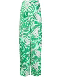 Sara Battaglia Jacquard-Hose mit Palmblättern - Grün