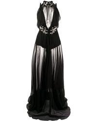 Philipp Plein Декорированное Полупрозрачное Платье Макси - Черный