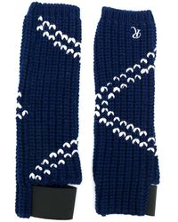 Raf Simons Contrast Knitted Gloves - Blue