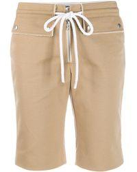 Courreges Cotton Biker Shorts W/ Drawstring - Natural