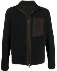 Ermenegildo Zegna Фактурная Куртка На Молнии С Высоким Воротником - Черный