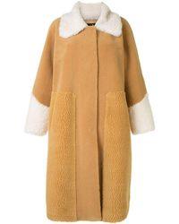 Unreal Fur テクスチャード コート - イエロー