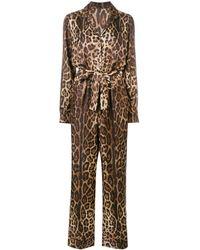 Dolce & Gabbana レオパード ジャンプスーツ - ブラウン