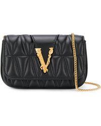 Versace Logo Plaque Mini Cross Body Bag - Black