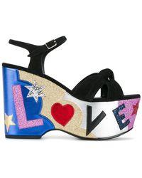 Saint Laurent - Candy Love-appliqué Suede Platform Sandals - Lyst
