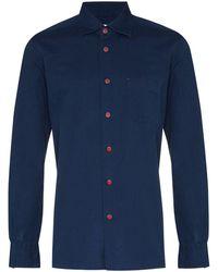 Kiton ボタン シャツ - ブルー