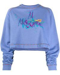 M Missoni Укороченная Толстовка С Вышитым Логотипом - Синий