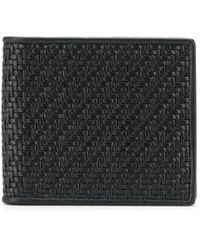 Ermenegildo Zegna Pelle Tessuta Leather Billfold Wallet - Black