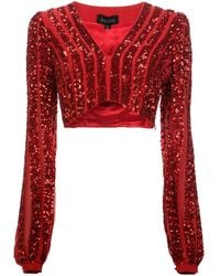 Saloni Camille Cropped Top - Red