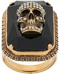 Alexander McQueen Skull On Crystal Ring - Metallic
