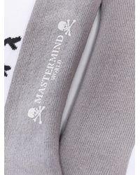 Mastermind Japan Calcetines cortos con logo de calavera - Gris