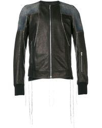 Rick Owens Patchwork Collarless Leather Jacket - Black