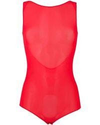 Maison Margiela Sleeveless Mesh Scoop Back Bodysuit - Pink