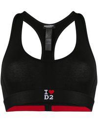 DSquared² I Heart D2 スポーツブラ - ブラック