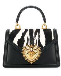 Dolce & Gabbana Сумка-тоут Devotion С Зебровым Принтом - Черный