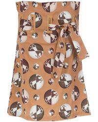 Adriana Degreas High Waist Midi Skirt - Коричневый