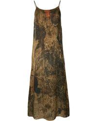 Uma Wang Платье-комбинация С Абстрактным Принтом - Коричневый