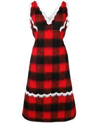 CALVIN KLEIN 205W39NYC Check Apron Dress - Black