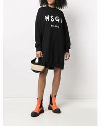 MSGM Платье-толстовка С Логотипом - Черный