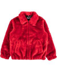 Supreme Куртка-бомбер Из Искусственного Меха - Красный