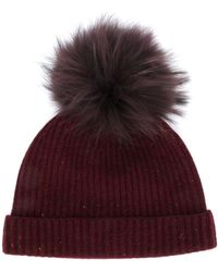 N.Peal Cashmere Ribbed Beanie - Red