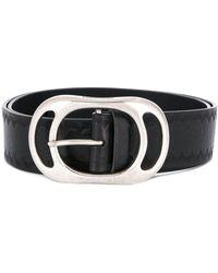 DSquared² Embossed Logo Textured Belt - Black