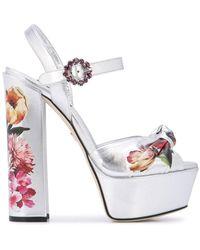 Dolce & Gabbana Floral Print Platform Sandals - Metallic