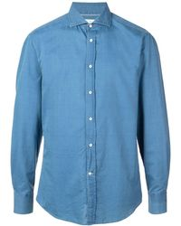 Brunello Cucinelli Рубашка С Косым Воротником - Синий