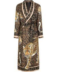 Dolce & Gabbana レオパード シルクローブ - ブラウン
