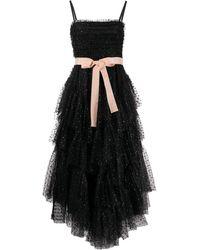RED Valentino リボン チュール ドレス - ブラック