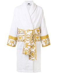 Versace Короткий Халат С Принтом Barocco И Логотипом - Белый