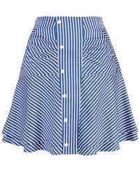 10 Crosby Derek Lam Ruched Striped Skirt - Blue