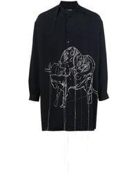 Yohji Yamamoto マンダリンカラー シャツ - ブルー