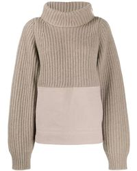 Haider Ackermann - Panelled Ribbed Roll Neck Jumper - Lyst