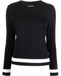 Calvin Klein ストライプ ニットトップ - ブラック