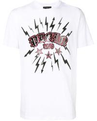 Philipp Plein T-shirt Met Bliksemflits - Wit