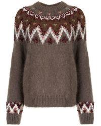 Coohem Fair Isle Textured Sweater - Brown
