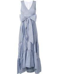 P.A.R.O.S.H. Полосатое Платье Макси С Бантом - Синий
