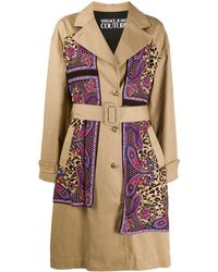 Versace Jeans Couture Paisley Leopard Accent Trench Coat - Multicolour