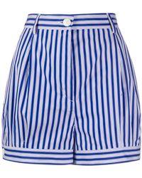 Prada Shorts a rayas de talle alto - Azul