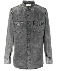 Saint Laurent - Acid Wash Denim Shirt - Lyst