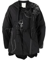 Renli Su Embroidered Drop-shoulder Jacket - Black