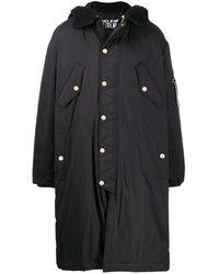 Versace Jeans Couture フーデッド キルティングコート - ブラック