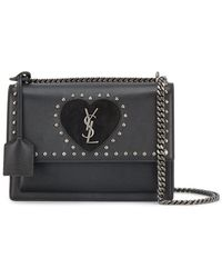 Saint Laurent - Medium Black Sunset Monogramme Shoulder Bag - Lyst