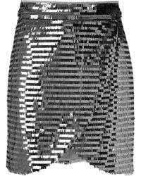 Olympiah Sequin Wrap Mini Skirt - Grey