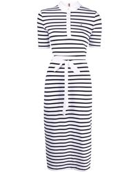 Tommy Hilfiger Stripe-print Fitted Polo Dress - White
