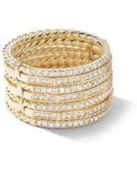 David Yurman Stax 18k Gold Diamond Multi-row Ring, Size 7 - Metallic